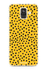 FOONCASE Samsung Galaxy A6 2018 hoesje TPU Soft Case - Back Cover - POLKA COLLECTION / Stipjes / Stippen / Oker Geel