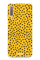 FOONCASE Samsung Galaxy A7 2018 hoesje TPU Soft Case - Back Cover - POLKA COLLECTION / Stipjes / Stippen / Oker Geel