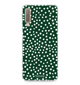 FOONCASE Samsung Galaxy A7 2018 - POLKA COLLECTION / Dark green