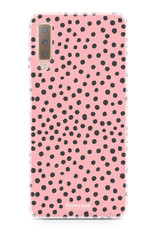 FOONCASE Samsung Galaxy A7 2018 hoesje TPU Soft Case - Back Cover - POLKA COLLECTION / Stipjes / Stippen / Roze