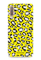 FOONCASE Samsung Galaxy A7 2018 hoesje TPU Soft Case - Back Cover - WILD COLLECTION / Luipaard / Leopard print / Geel
