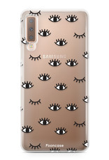 FOONCASE Samsung Galaxy A7 2018 hoesje TPU Soft Case - Back Cover - Eyes / Ogen