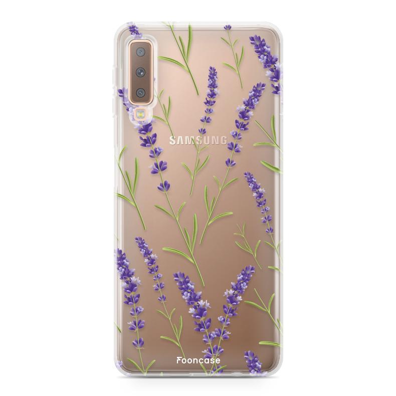FOONCASE Samsung Galaxy A7 2018 hoesje TPU Soft Case - Back Cover - Purple Flower / Paarse bloemen