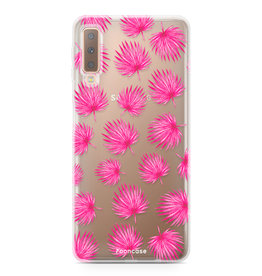 FOONCASE Samsung Galaxy A7 2018 - Pink leaves