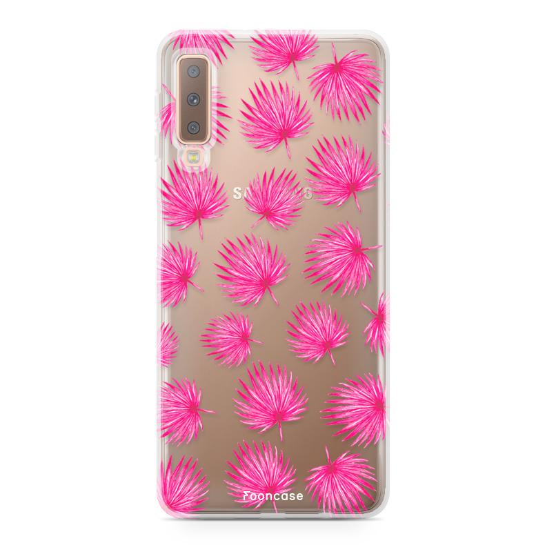 Samsung Samsung Galaxy A7 2018 Handyhülle - Rosa Blätter