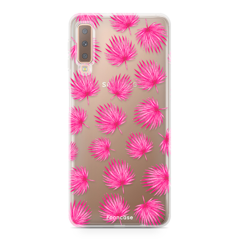 Samsung Samsung Galaxy A7 2018 hoesje - Pink leaves