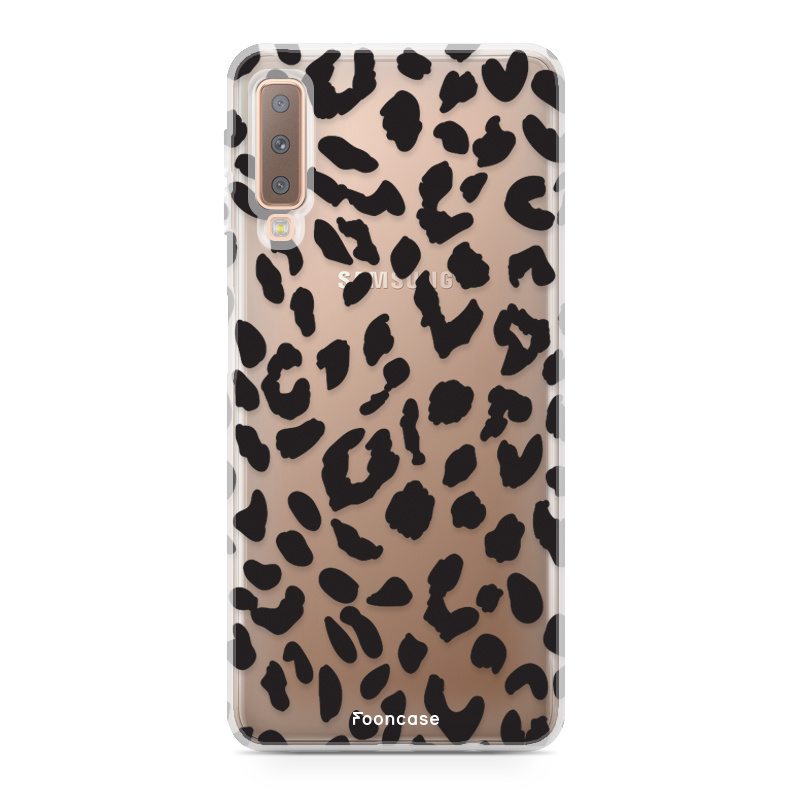 FOONCASE Samsung Galaxy A7 2018 hoesje TPU Soft Case - Back Cover - Luipaard / Leopard print