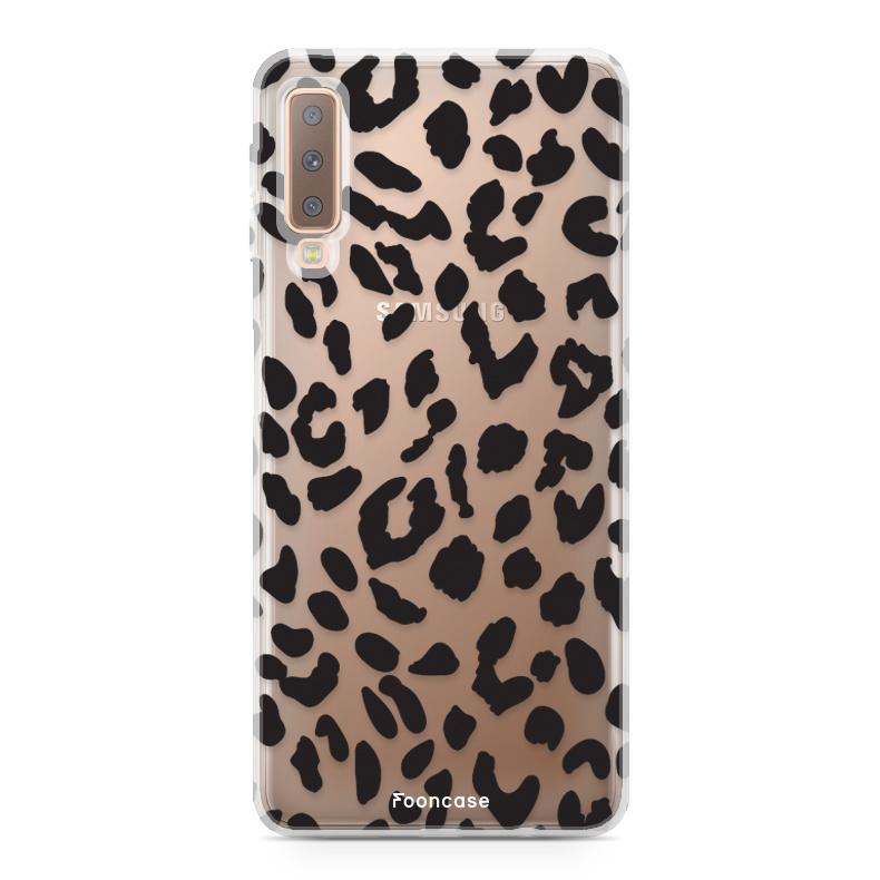 FOONCASE Samsung Galaxy A7 2018 hoesje TPU Soft Case - Back Cover - Luipaard / Leopard print