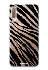 FOONCASE Samsung Galaxy A7 2018 hoesje TPU Soft Case - Back Cover - Zebra print