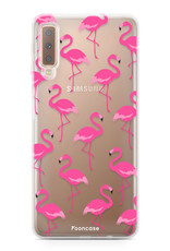 FOONCASE Samsung Galaxy A7 2018 hoesje TPU Soft Case - Back Cover - Flamingo