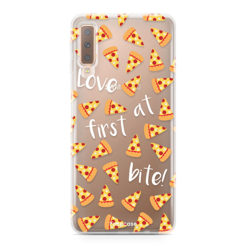 FOONCASE Samsung Galaxy A7 2018 hoesje TPU Soft Case - Back Cover - Pizza / Food