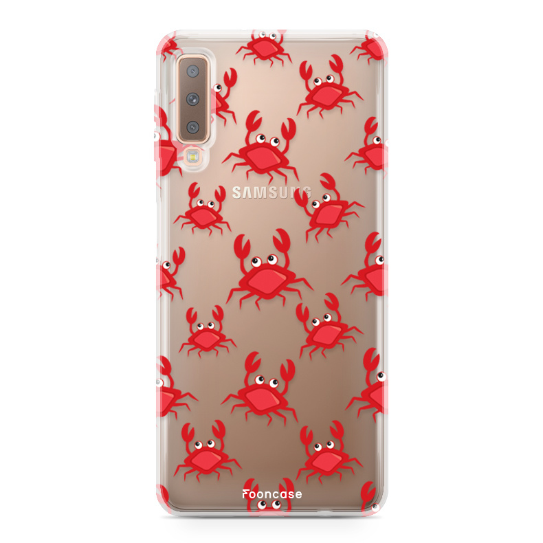 FOONCASE Samsung Galaxy A7 2018 hoesje TPU Soft Case - Back Cover - Crabs / Krabbetjes / Krabben