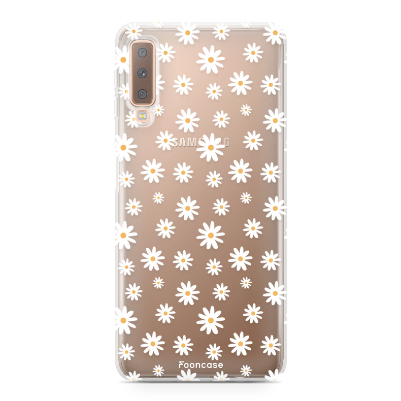 FOONCASE Samsung Galaxy A7 2018 hoesje TPU Soft Case - Back Cover - Madeliefjes