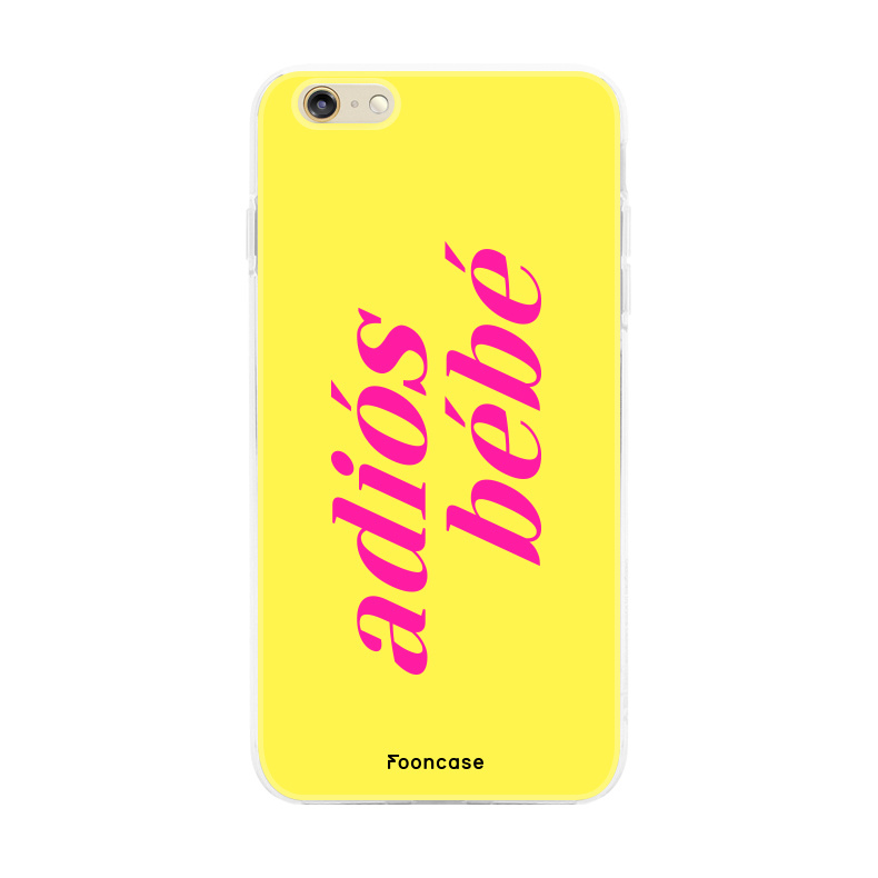 FOONCASE iPhone 6 Plus hoesje TPU Soft Case - Back Cover - Adiós Bébé ☀ / Geel & Roze