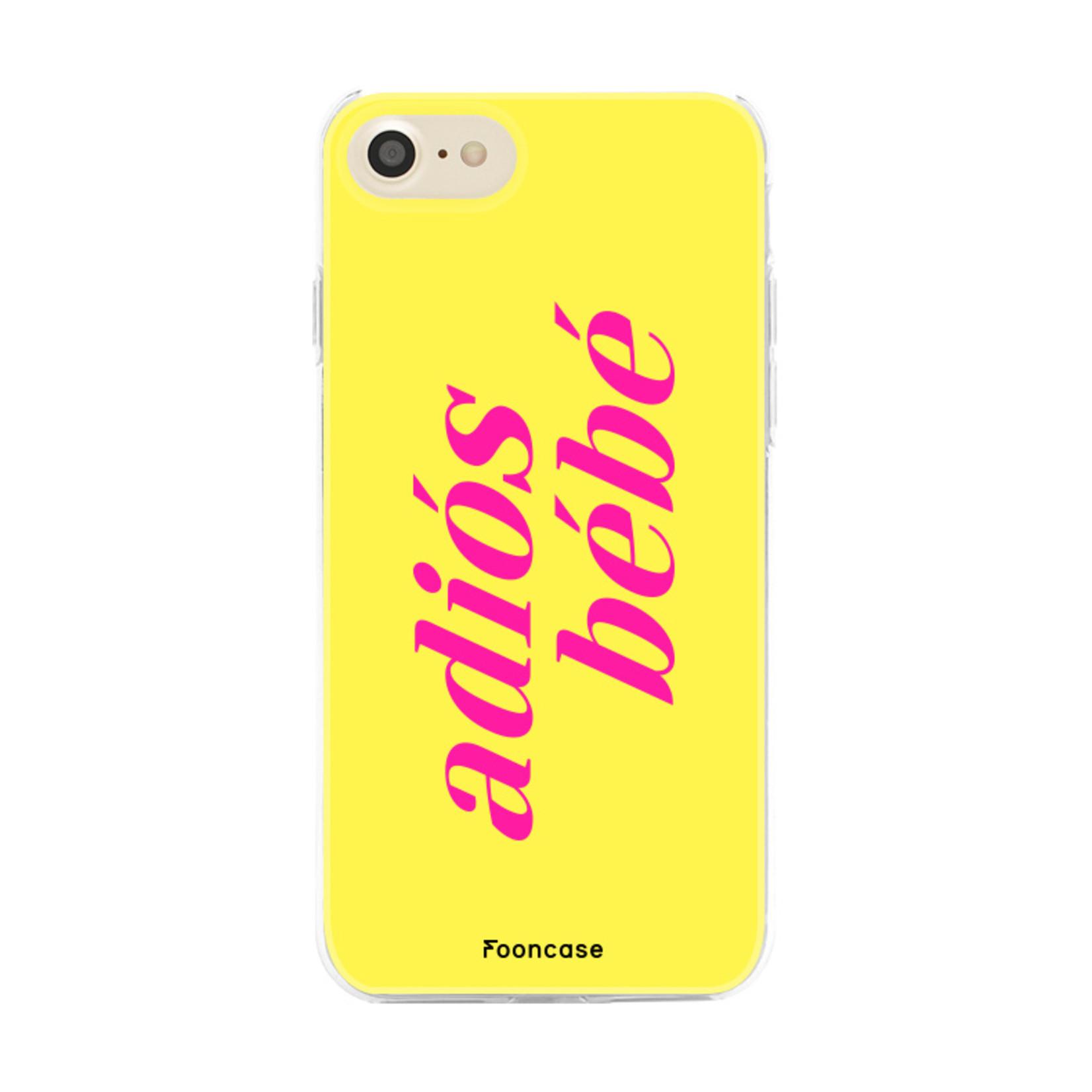 FOONCASE iPhone 7 hoesje TPU Soft Case - Back Cover - Adiós Bébé ☀ / Geel & Roze