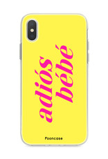 FOONCASE iPhone Xs hoesje TPU Soft Case - Back Cover - Adiós Bébé ☀ / Geel & Roze