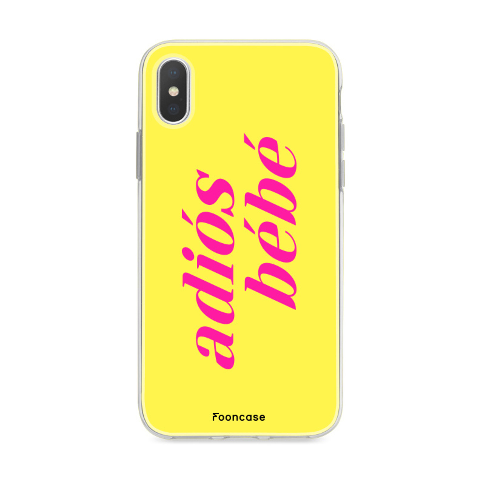 FOONCASE iPhone Xs hoesje TPU Soft Case - Back Cover - Adiós Bébé ☀ / Geel & Roze