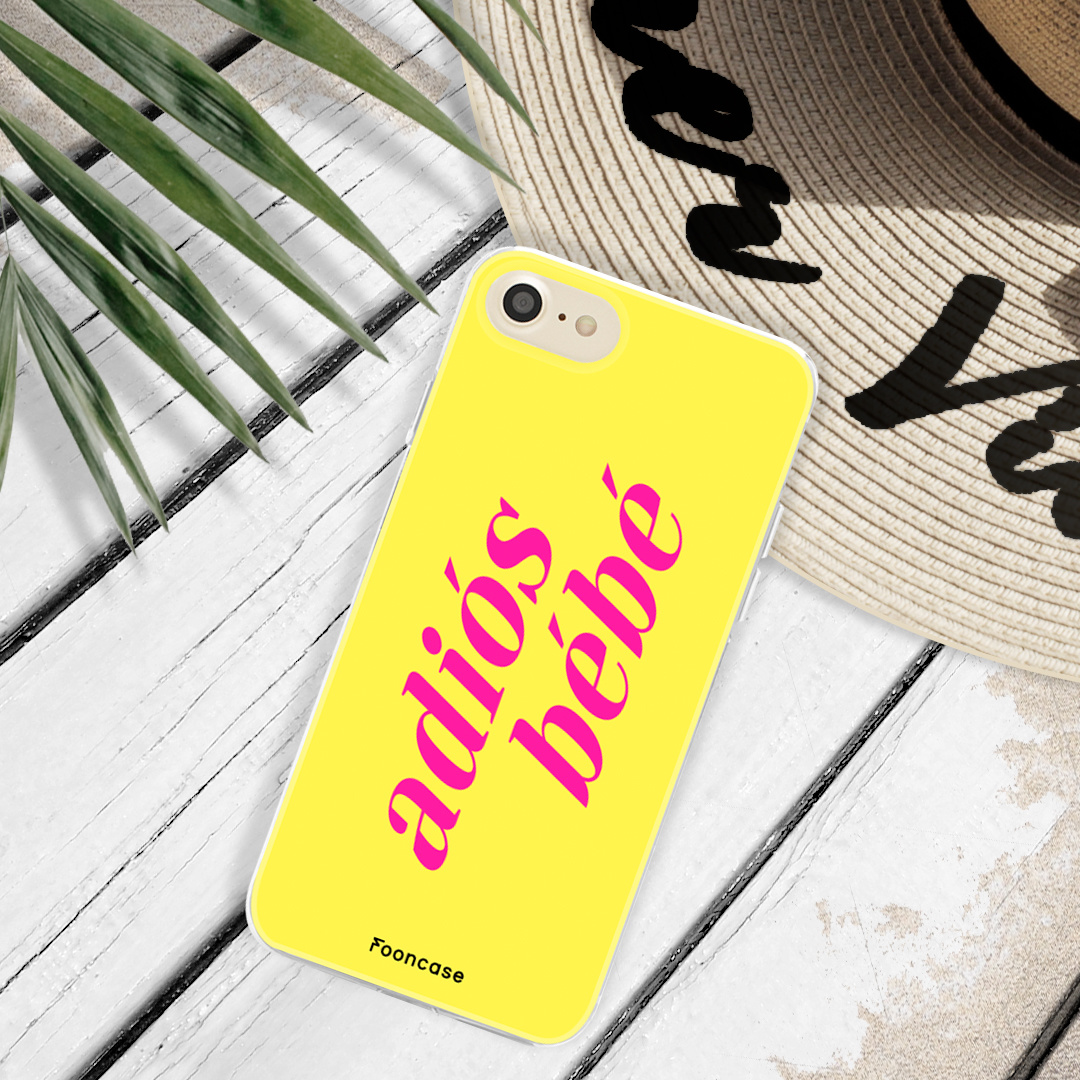 FOONCASE iPhone 7 hoesje TPU Soft Case - Back Cover - Adiós Bébé ☀ / Geel & Roze