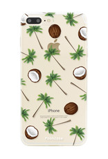 FOONCASE iPhone 8 Plus hoesje TPU Soft Case - Back Cover - Coco Paradise / Kokosnoot / Palmboom