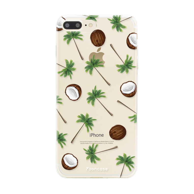 FOONCASE iPhone 7 Plus hoesje TPU Soft Case - Back Cover - Coco Paradise / Kokosnoot / Palmboom