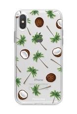 FOONCASE iPhone X hoesje TPU Soft Case - Back Cover - Coco Paradise / Kokosnoot / Palmboom