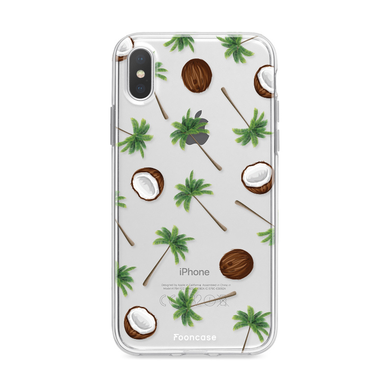 FOONCASE iPhone XS Max hoesje TPU Soft Case - Back Cover - Coco Paradise / Kokosnoot / Palmboom
