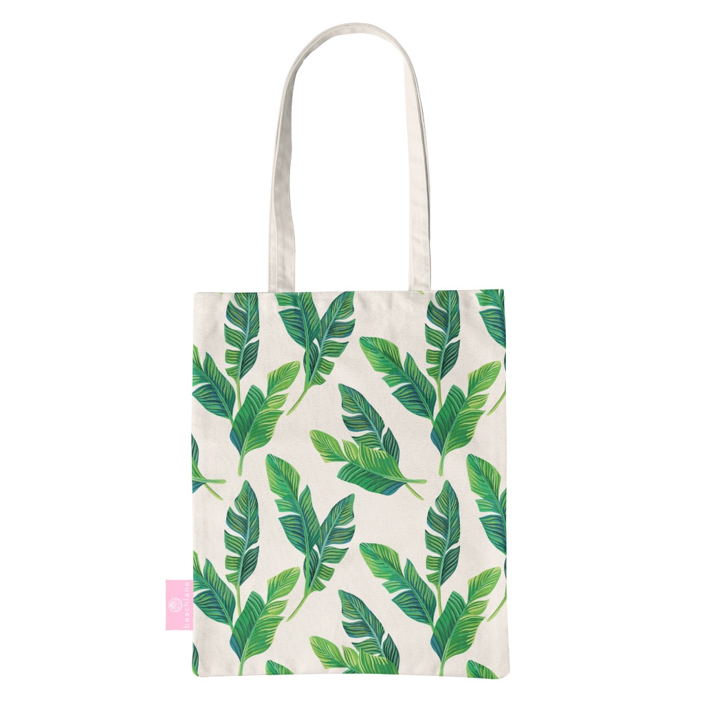 FOONCASE BEACHLANE - Katoenen tasje - Canvas Tote Bag Shopper - Banana leaves / Bananen bladeren print - Schoudertas / Boodschappen tas