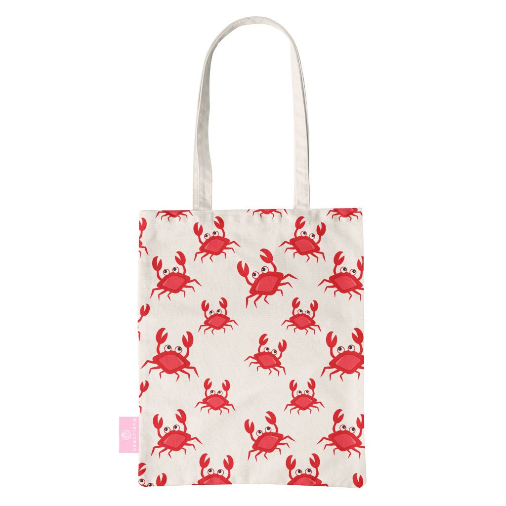 FOONCASE BEACHLANE - Katoenen tasje - Canvas Tote Bag Shopper - Crabs / Krabbetjes / Krabben print - Schoudertas / Boodschappen tas
