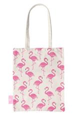FOONCASE BEACHLANE - Katoenen tasje - Canvas Tote Bag Shopper - Flamingo print - Schoudertas / Boodschappen tas