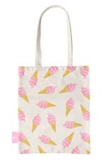 FOONCASE BEACHLANE - Katoenen tasje - Canvas Tote Bag Shopper - Ice Ice Baby / Ijsjes / Roze ijsjes print - Schoudertas / Boodschappen tas