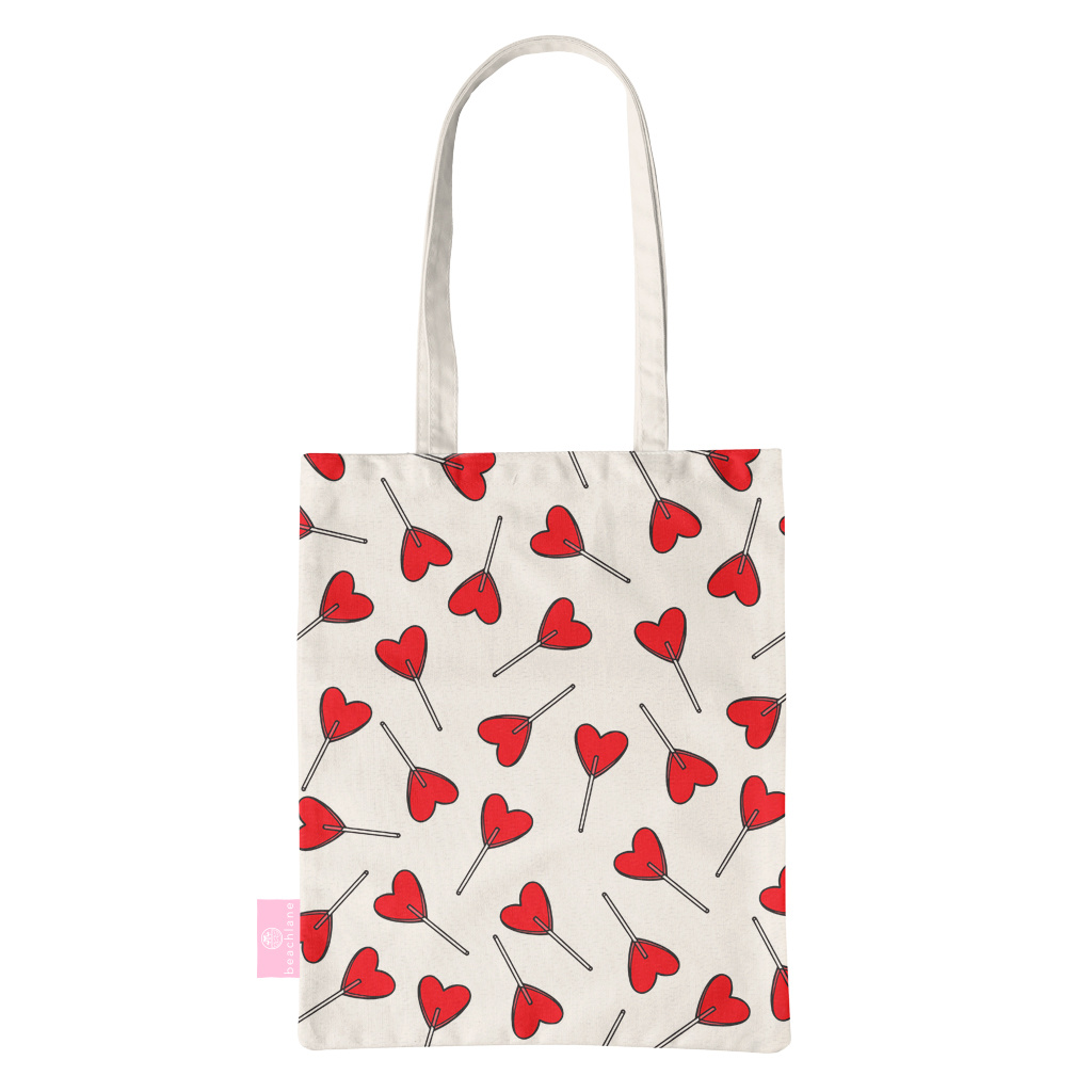 FOONCASE BEACHLANE - Katoenen tasje - Canvas Tote Bag Shopper - Love pop / Hartjes print - Schoudertas / Boodschappen tas