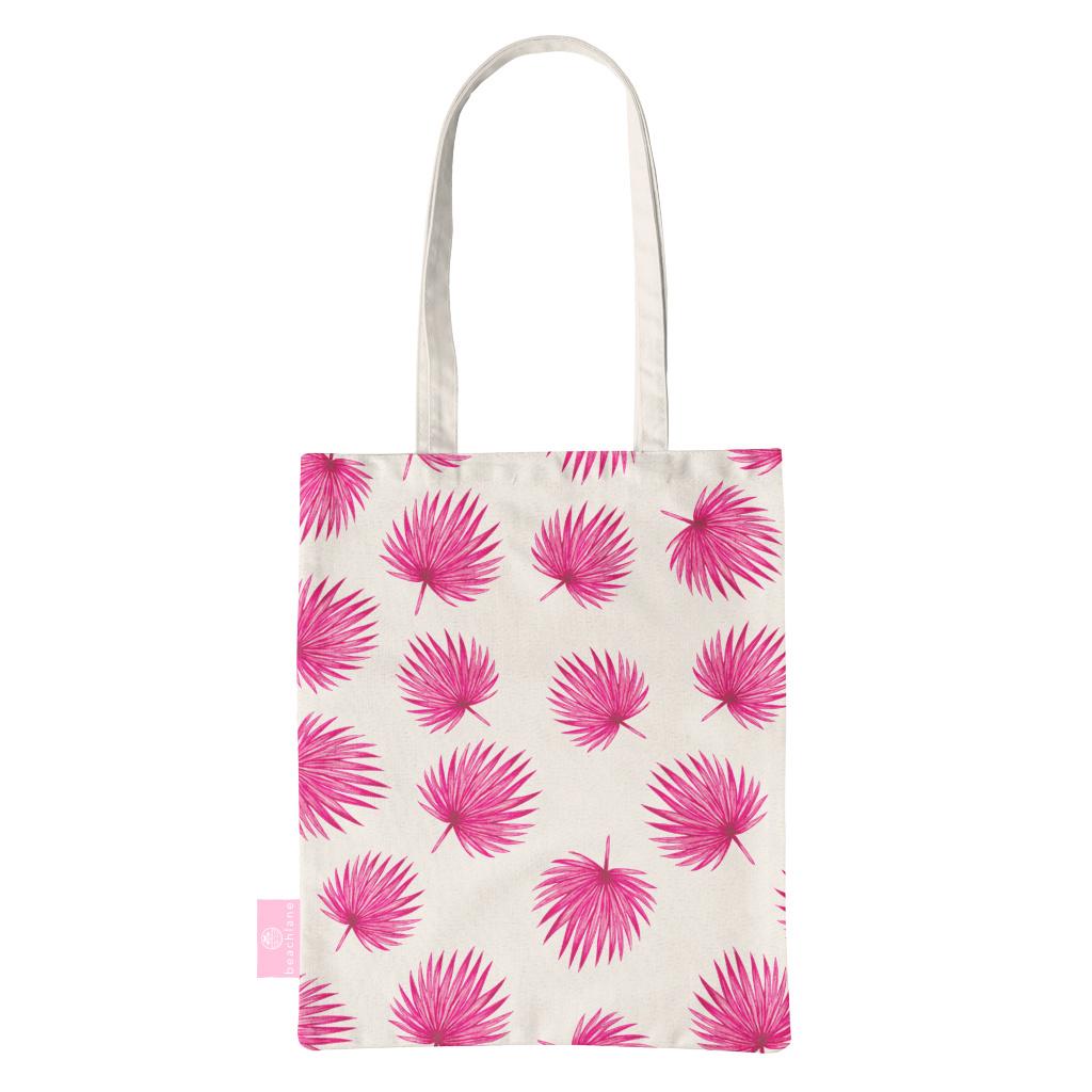 FOONCASE BEACHLANE - Katoenen tasje - Canvas Tote Bag Shopper - Pink leaves / Roze bladeren print - Schoudertas / Boodschappen tas
