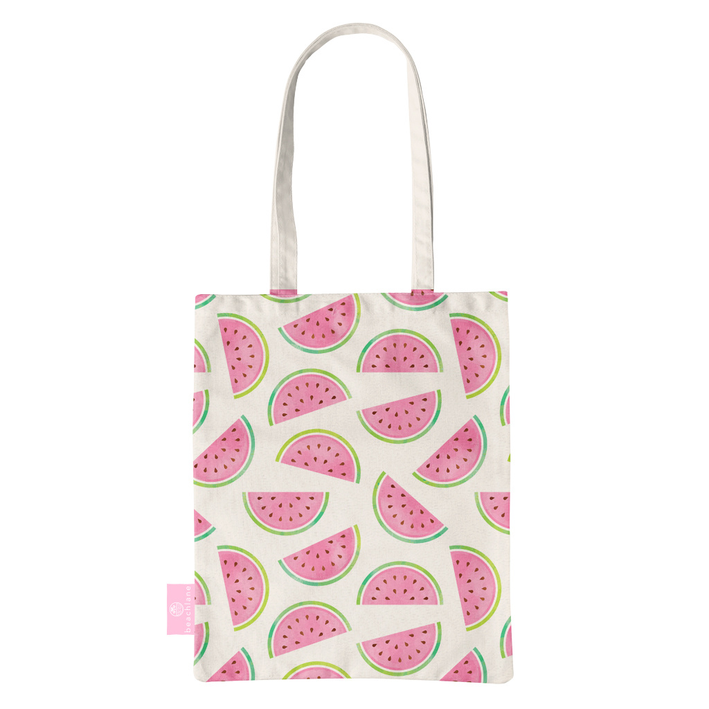FOONCASE BEACHLANE - Katoenen tasje - Canvas Tote Bag Shopper - Watermeloen print - Schoudertas / Boodschappen tas