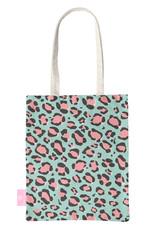 FOONCASE BEACHLANE - Katoenen tasje - Canvas Tote Bag Shopper - Luipaard / Leopard print Blauw - Schoudertas / Boodschappen tas