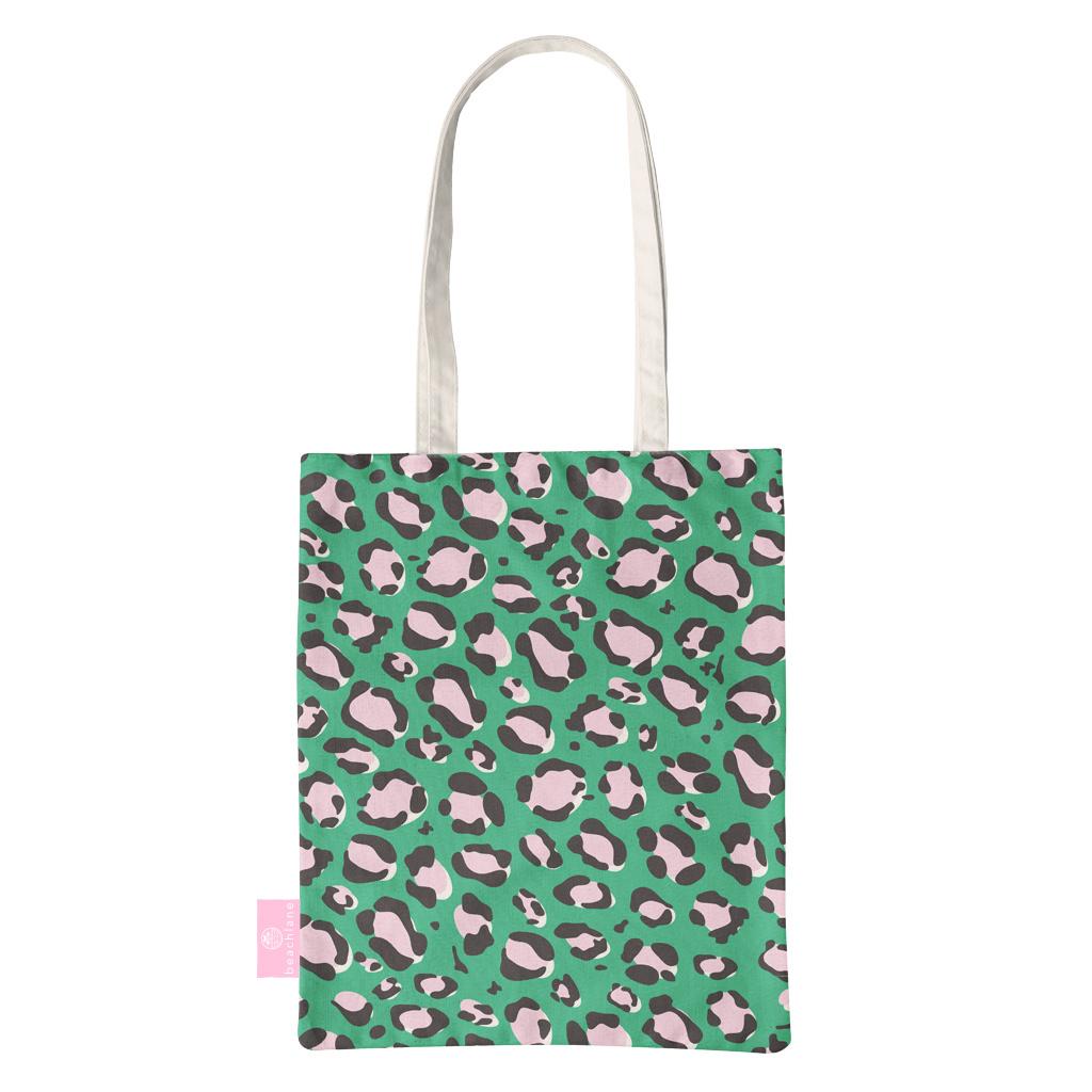 FOONCASE BEACHLANE - Katoenen tasje - Canvas Tote Bag Shopper - Luipaard / Leopard print Groen - Schoudertas / Boodschappen tas