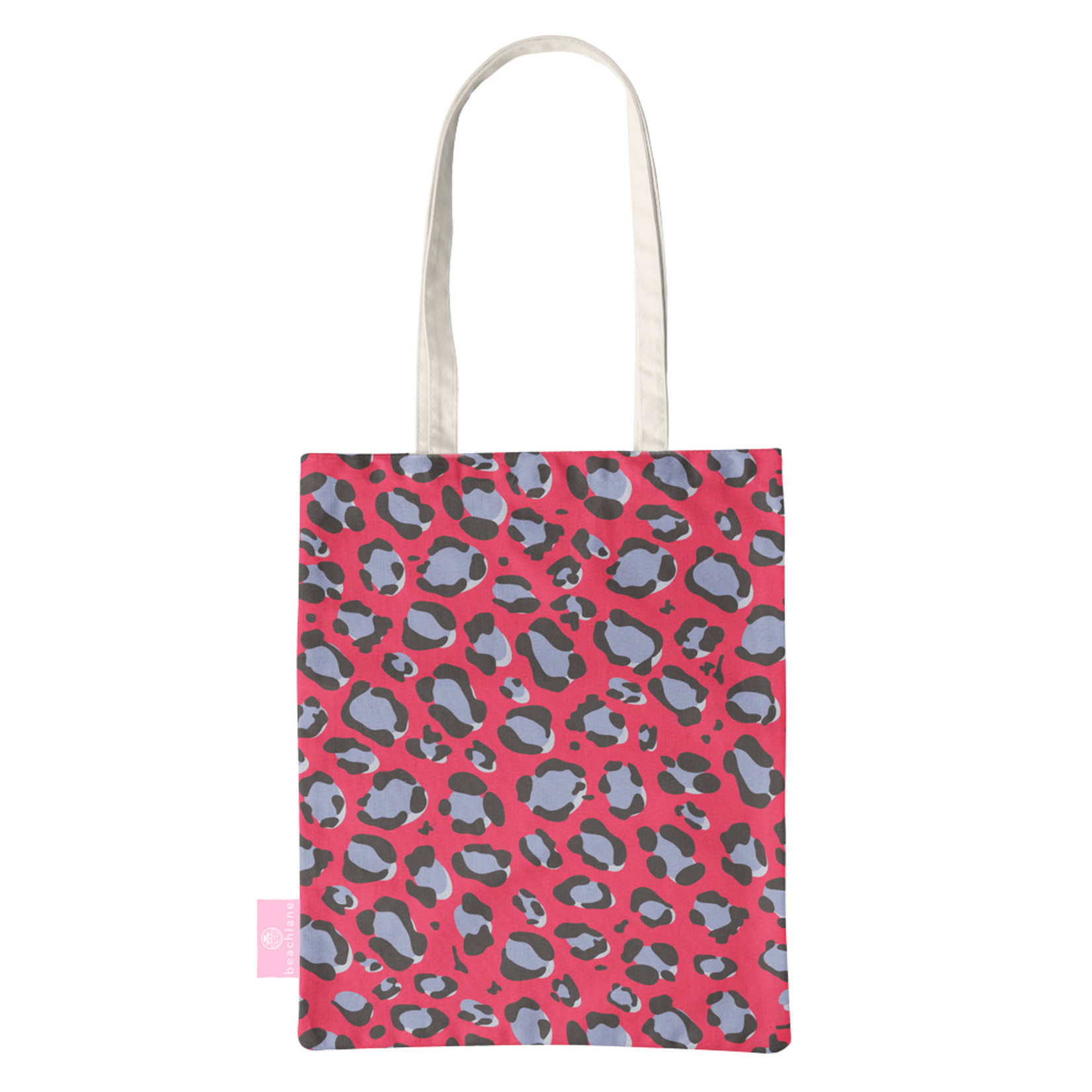 FOONCASE BEACHLANE - Katoenen tasje - Canvas Tote Bag Shopper - Luipaard / Leopard print Rood - Schoudertas / Boodschappen tas