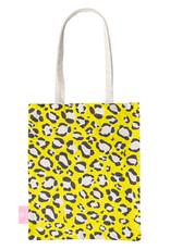 FOONCASE BEACHLANE - Katoenen tasje - Canvas Tote Bag Shopper - Luipaard / Leopard print Geel - Schoudertas / Boodschappen tas