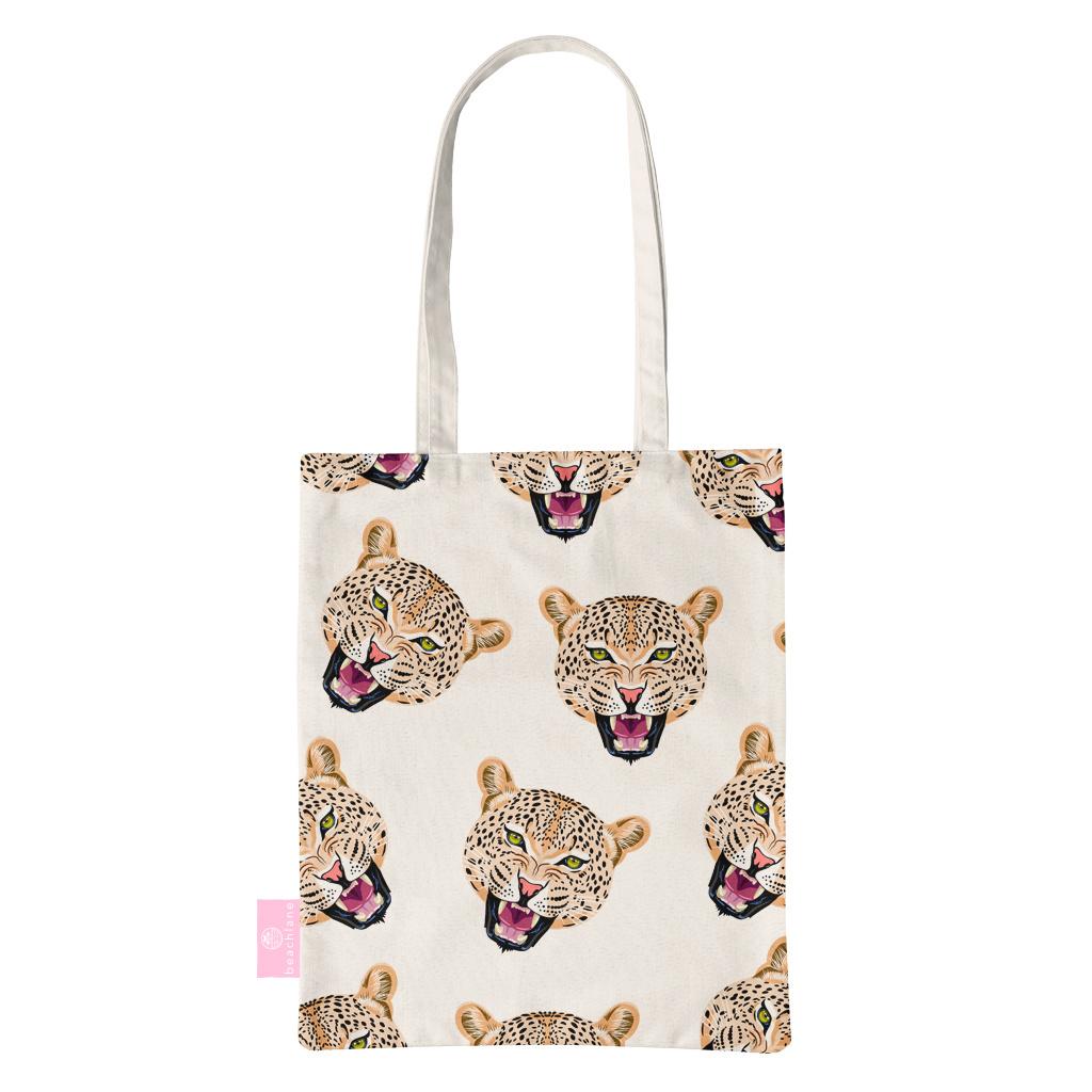 FOONCASE BEACHLANE - Katoenen tasje - Canvas Tote Bag Shopper - Cheeky Leopard / Luipaard hoofden print - Schoudertas / Boodschappen tas