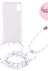 FOONCASE iPhone XR - Festicase Wit (Telefoonhoesje TPU Soft Case - Back Cover met koord)