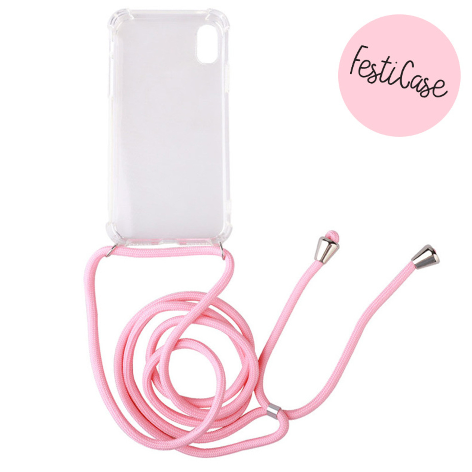 FOONCASE FESTICASE iPhone X Telefoonhoesje met koord (Roze) TPU Soft Case - Transparant