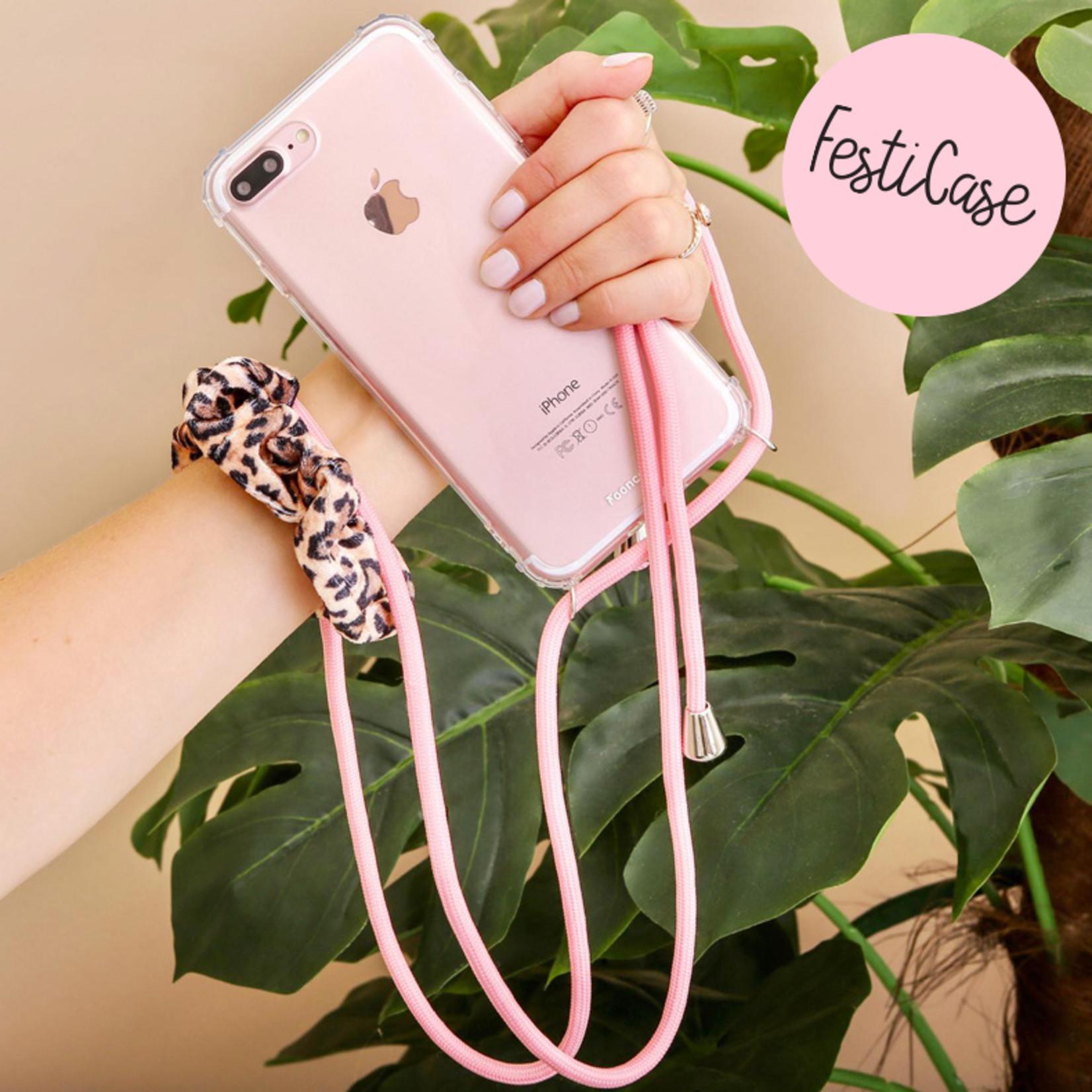 FOONCASE FESTICASE iPhone 7 Telefoonhoesje met koord (Roze) TPU Soft Case - Transparant