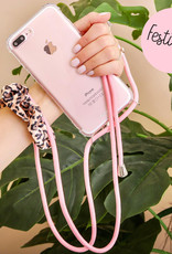 FOONCASE FESTICASE iPhone 8 Plus Telefoonhoesje met koord (Roze) TPU Soft Case - Transparant