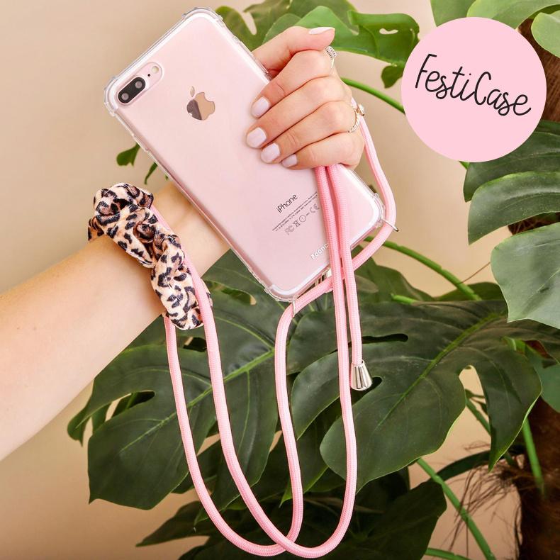 FOONCASE iPhone 8 Plus - Festicase Roze (Telefoonhoesje TPU Soft Case - Back Cover met koord)