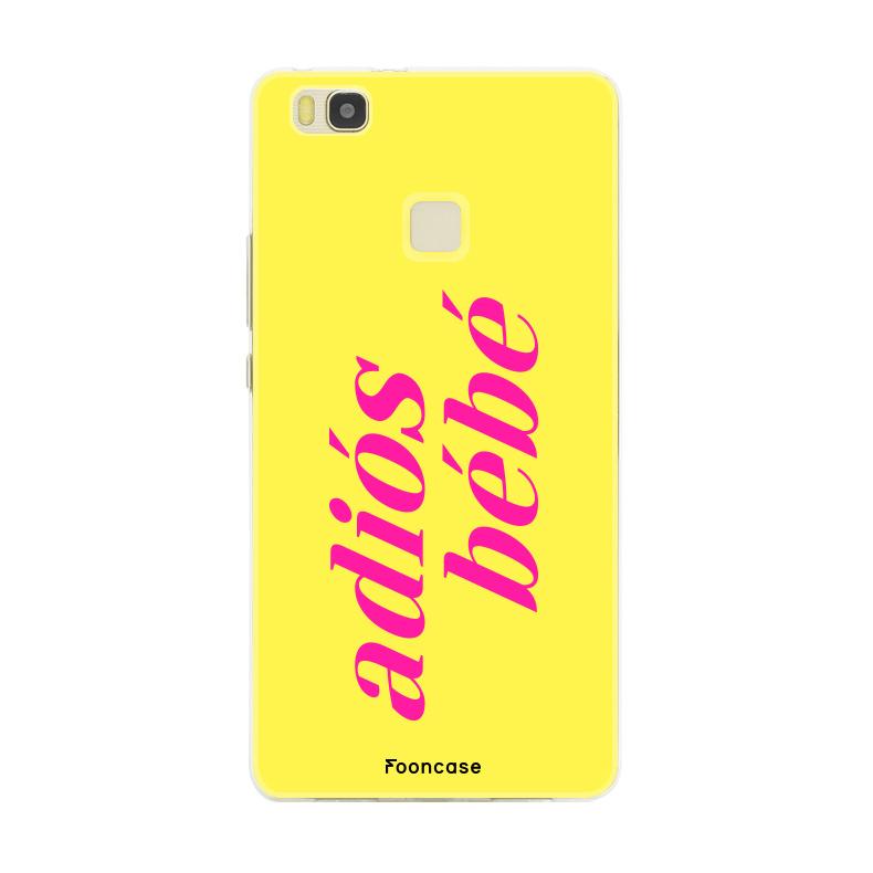 FOONCASE Huawei P9 Lite hoesje TPU Soft Case - Back Cover - Adiós Bébé ☀ / Geel & Roze