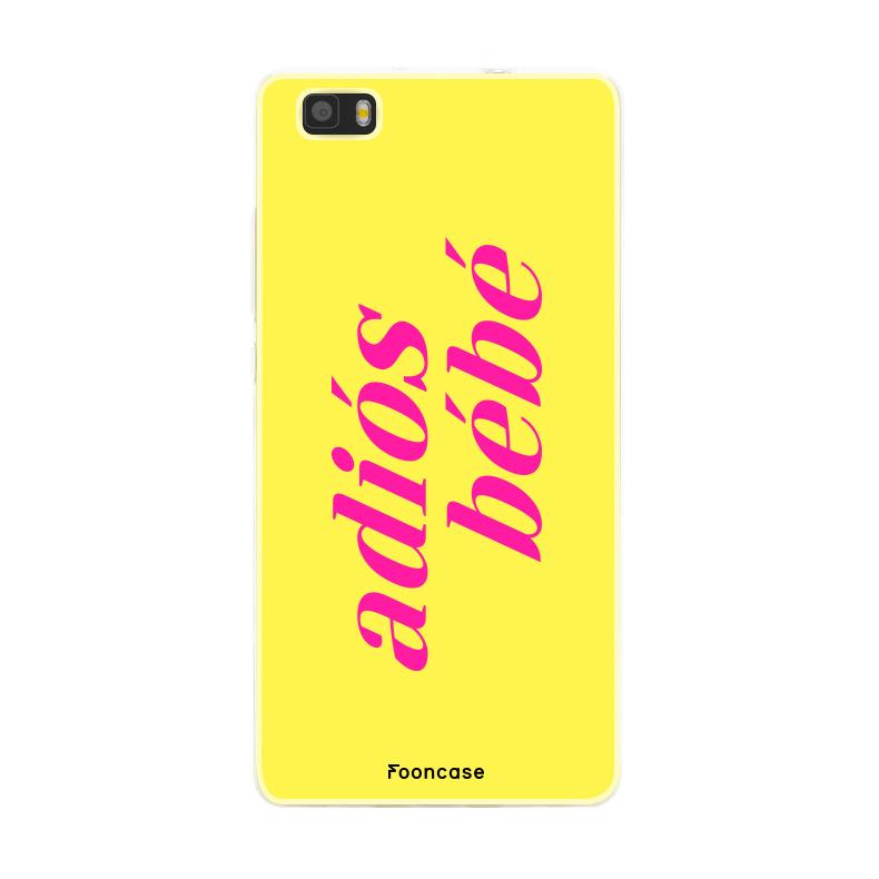 FOONCASE Huawei P8 Lite 2016 hoesje TPU Soft Case - Back Cover - Adiós Bébé ☀ / Geel & Roze