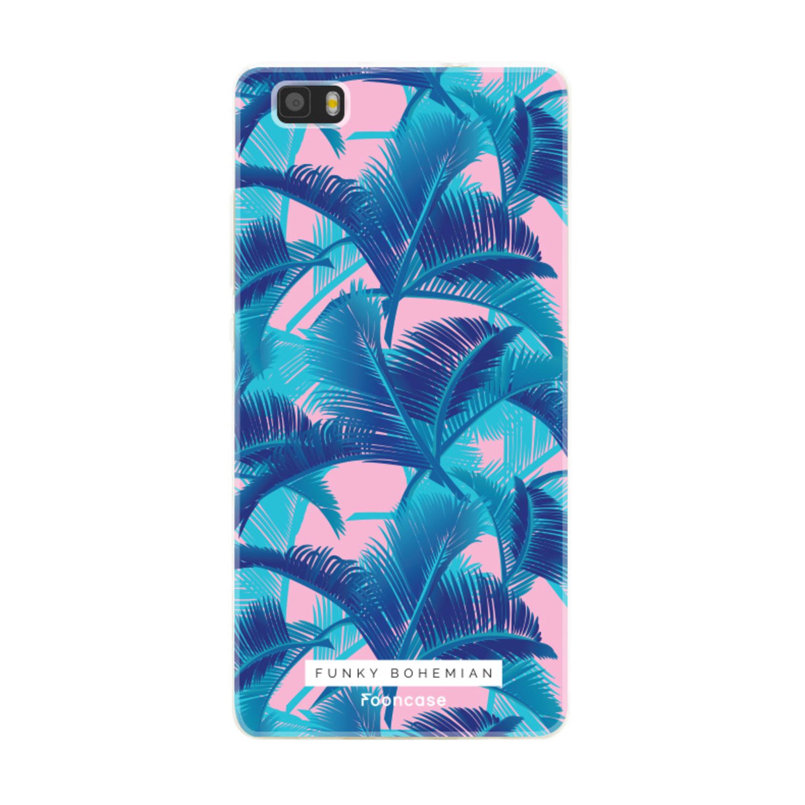 FOONCASE Huawei P8 Lite 2016 hoesje TPU Soft Case - Back Cover - Funky Bohemian / Blauw Roze Bladeren
