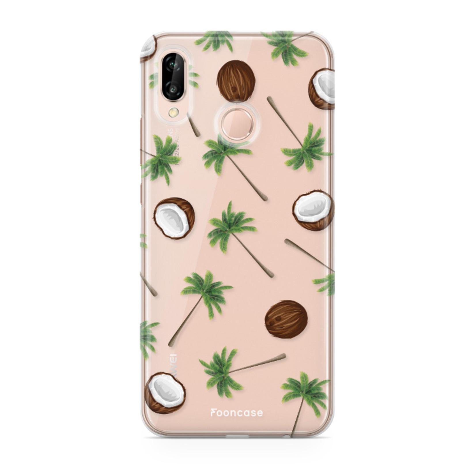 FOONCASE Huawei P20 Lite hoesje TPU Soft Case - Back Cover - Coco Paradise / Kokosnoot / Palmboom