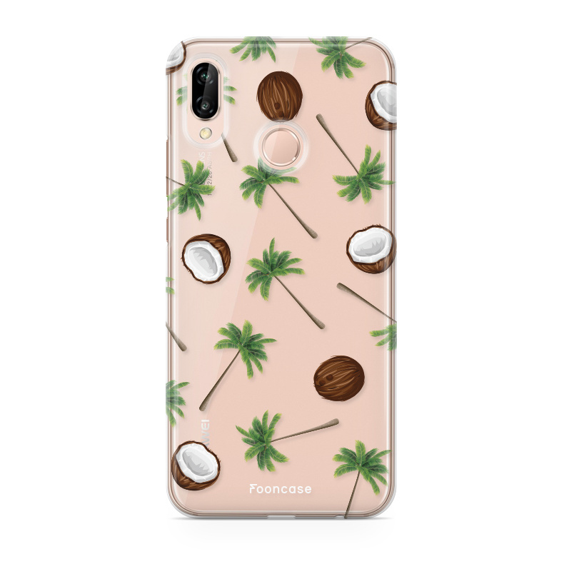 FOONCASE Huawei P20 Lite hoesje TPU Soft Case - Back Cover - Coco Paradise / Kokosnoot / Palmboom