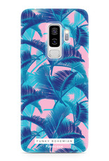 FOONCASE Samsung Galaxy S9 Plus hoesje TPU Soft Case - Back Cover - Funky Bohemian / Blauw Roze Bladeren