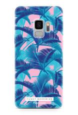 FOONCASE Samsung Galaxy S9 hoesje TPU Soft Case - Back Cover - Funky Bohemian / Blauw Roze Bladeren